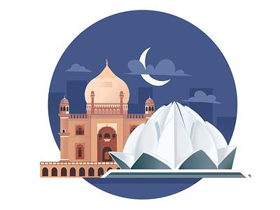New Delhi india landscape city delhi new delhi 2d art illustration design