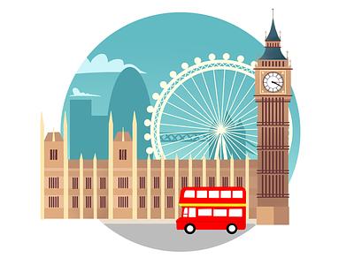 London big ben london bus london eye london landscape city 2d art web illustration design