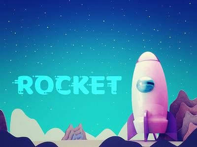 Rocket web typography starship stars space rocket illustration galaxy design cosmos 3d artist 3d art 3d