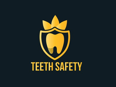 Logo For Teeth Safety designer gold and black gold gradient dentists dental logo dental clinic dental care dental dentist doctor design icon flat logodesign logo design graphic  design logo brand and identity brand