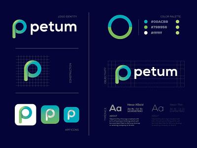 Petum Logo Design-P Modern Logo- Logo Branding Design illustration design logo design logodesign graphic  design creative  design brand and identity brand logo