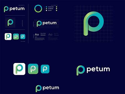 Petum Logo Design-P Modern Logo- Logo Branding Design design illustration logo design logodesign graphic  design creative  design brand and identity brand branding logo