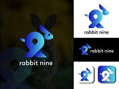 Rabbit Nine logo letter logo rabbit logo graphic  design creative  design brand and identity logo brand