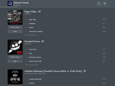 Fndrr - Album List fndrr album itunes play list song cover player artist knife party internet friends daft punk