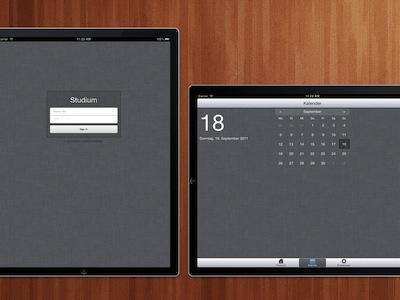 Login and Calendar login ipad calendar webapp ui