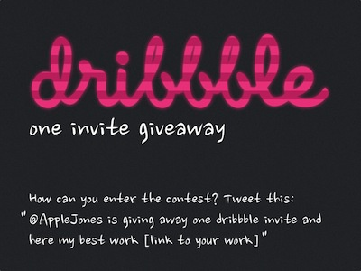 one invite giveaway invite dribbble twitter applejones