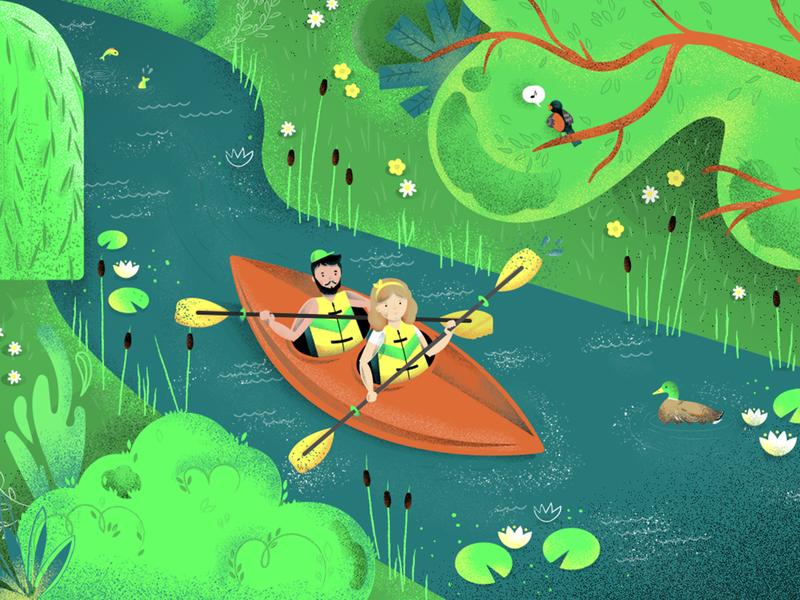 Kayaking illustration nature sport kayaking cartoon character texture syzygywarsaw syzygy drawing illustration