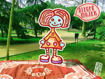 happy girl rug block design geometric carpet joy girl woman natures portrait landscape narrative tone composition colour sketch graphic poster ink texture illustration