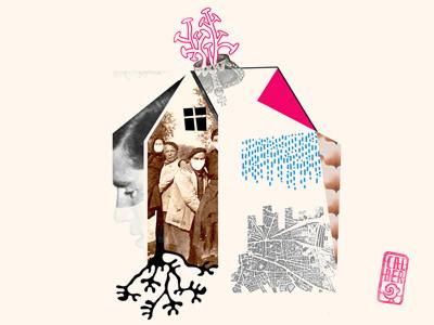 house geometric design portrait house narrative tone composition colour sketch graphic poster collage texture illustration