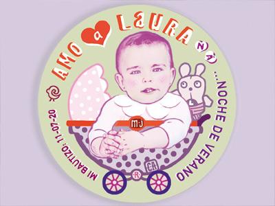 laura baptism badge badget sticker birthday laura happybirthday icon vector tone composition colour logo graphic poster illustration
