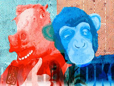 OK portrait design sketch texture ok monkey doubleexpousure donkey tone composition colour graphic poster illustration