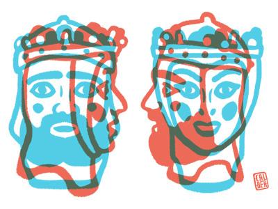 Ricarda edition screen printing king queen composition colour sobreimpresión texture concept illustration