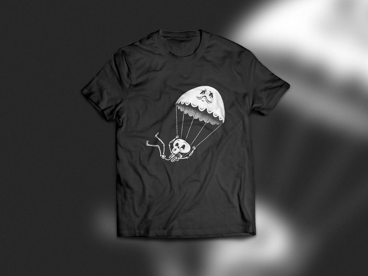 BFF Parachute shirt woot extreme sport parachute ghost skeleton character design digital drawing t-shirt tshirt apparel design apparel illustration