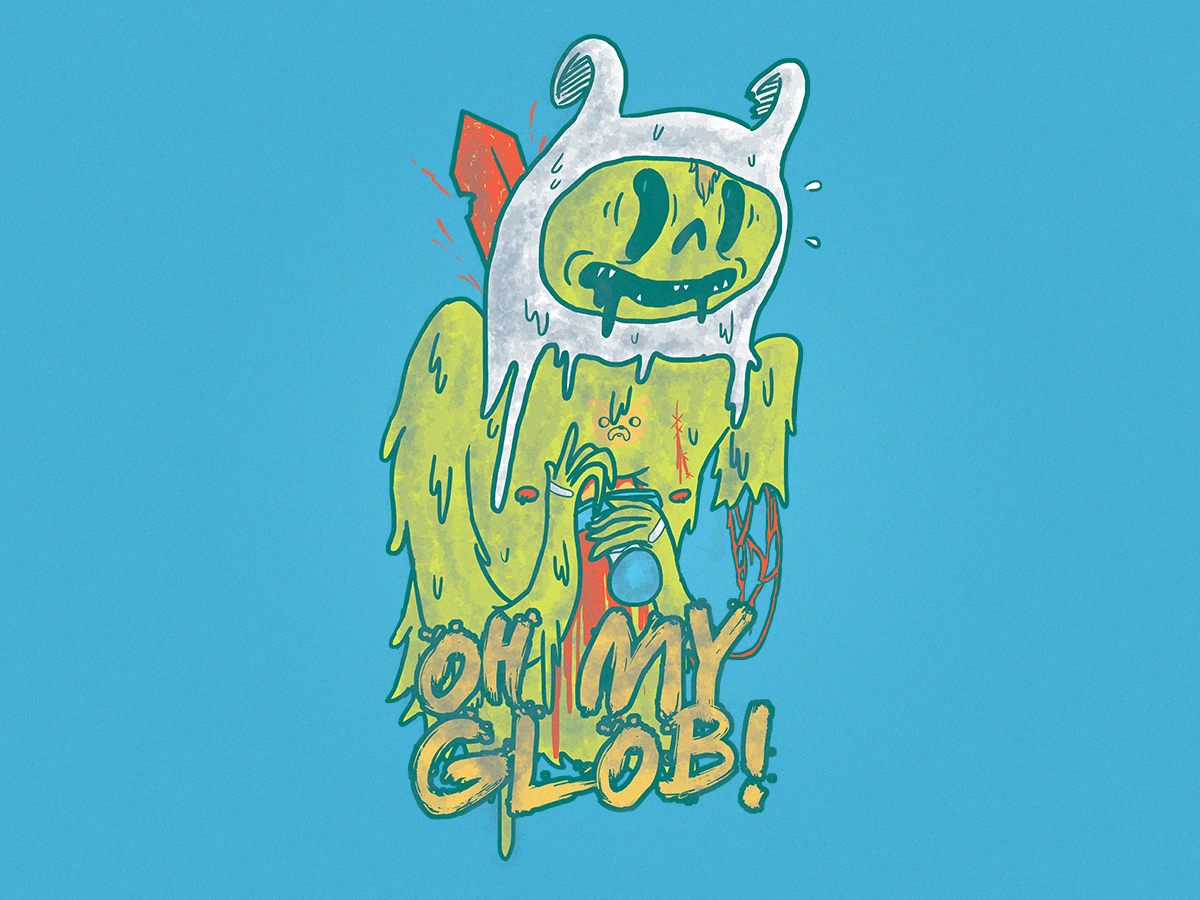 Oh My Glob fan art blood sword glob jake finn adventure time cartoon character design digital drawing illustration