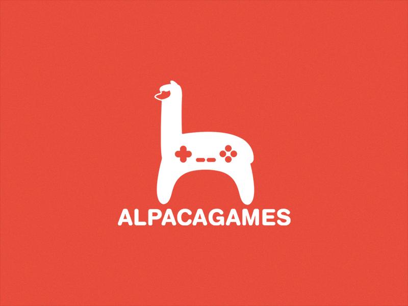 Alpaca Games logo joystick controller gamepad gaming animal alpaca graphic design branding logo