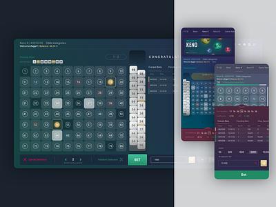 Keno Web Application product ux ui bet betting application web design website lottery