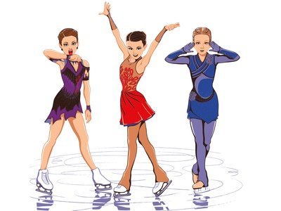 Russian ice skaters firebird twilight game of thrones adobe illustrator ice skating фигурное катание дизайн персонажей графический дизайнер иллюстрация vector illustration character