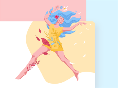 Girl dancing fly with flower ui illustration illustrator иллюстратор векторная графика nutrition app cuberto flying woman illustration leaves floral ballet dancer girl иллюстрация character vector illustration