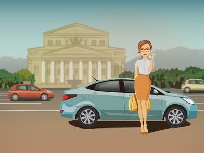 Car sharing in Moscow moscow clipart girl art picture designer машина вектор character vector business-woman