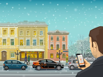 Mobile Car sharing in Moscow москва vector house vector car renault twingo vector art street делимобиль лэндинг landing landing design mobile snow city вектор иллюстрация winter illustration moscow