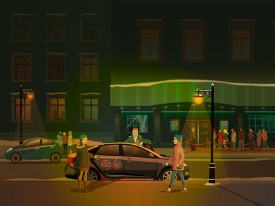 Night Club car sharing 24 hours service in Moscow клуб ночной вектор иллюстрация vector illustration hours 24 sharing car club night