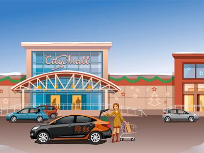 Shopping, Moscow carsharing машина покупки дизайн москва делимобиль иллюстрация illustration moscow carsharing mall city shopping