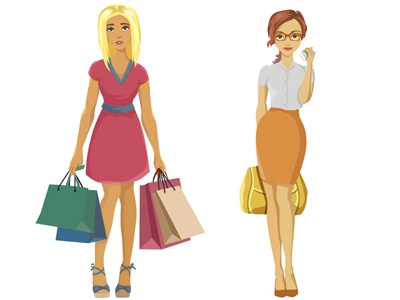 girl hard shopping day and business lady woman lady business shopping girl 2d design character