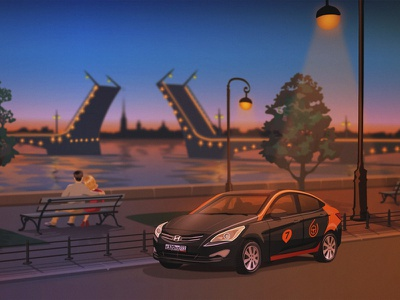 City parking sketch2 lights river russia saint petersburg car city character vector house night evening