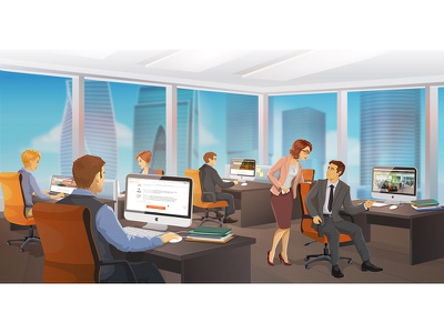 Moscow city office corporate interface интерфейс москва сити moscow city panoramic skyscraper realistic graphic design лэндинг офис иллюстрация делимобиль vector character landing page open space illustration vector office moscow