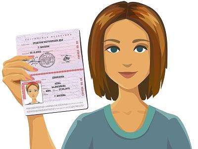 Selfie passport holding character vector passport selfie