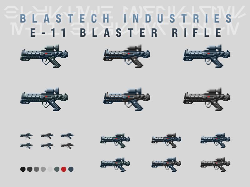 BlasTech Industries E-11 Blaster Rifle - Pixel Version! stormtrooper e-11 laser ray gun gun rifle blaster 16-bit 16 bit 16bit video game retro illustration star wars starwars pixel art pixels pixel