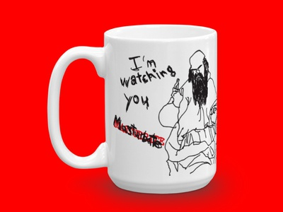 Omniscimug lettering drawing illustration sketch cup coffee merch product mug