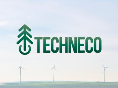 Techneco gradient tree it green eco environmentally friendly brand logo