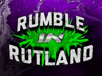 Rumble In Rutland - Pro-Wrestling Event Logo purple green metal rough cracked stone wwe wrestling kelowna