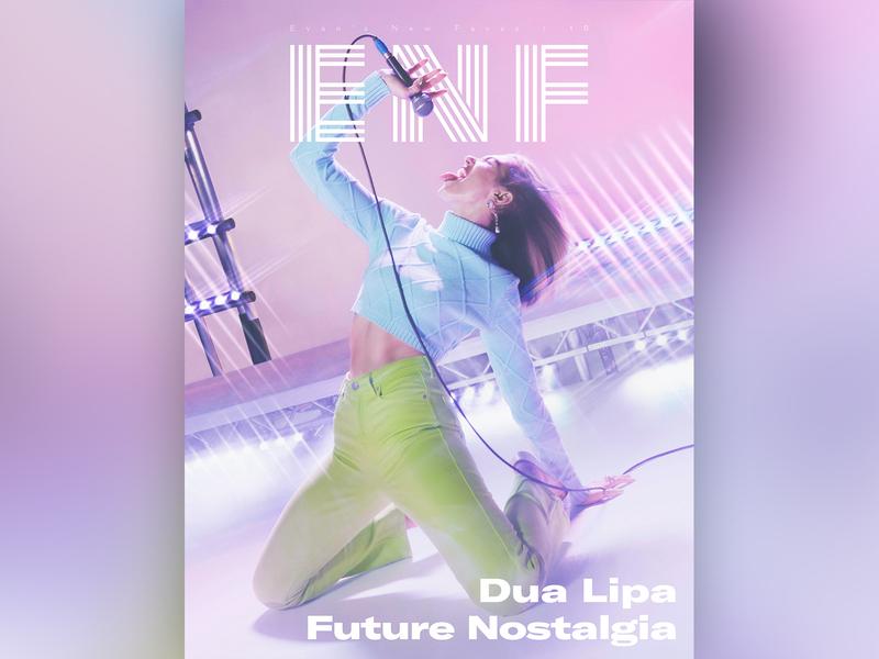 ENF Issue 10 future nostalgia dua lipa zine typography type photography music magazine logotype logo design logo lettering identity editorial cover design clean branding brand identity brand