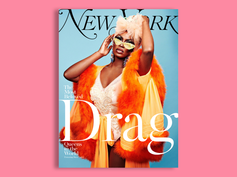 New York Magazine - Shea Couleé - 2 of 6 concept color orange drag queen drag zine lockup lettering typography type portrait photography clean editorial cover cover design magazine