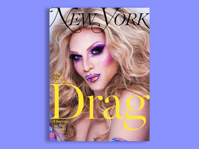 New York Magazine - Willam - 3 of 6 concept color purple drag queen drag zine lockup lettering typography type portrait photography clean editorial cover cover design magazine