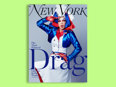 New York Magazine - Pangina Heals - 4 of 6 concept color green drag queen drag zine lockup lettering typography type portrait photography clean editorial cover cover design magazine