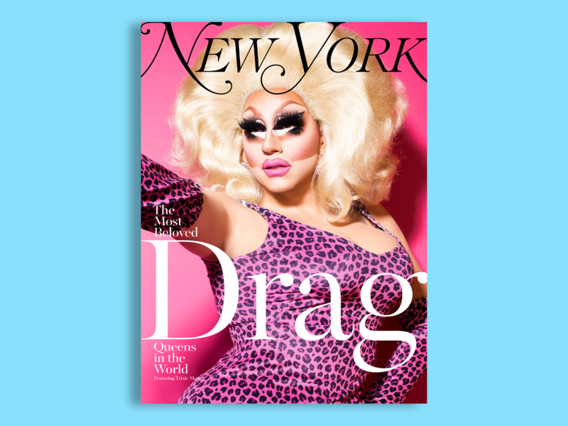 New York Magazine - Trixie Mattel - 5 of 6 concept color blue drag queen drag zine lockup lettering typography type portrait photography clean editorial cover cover design magazine