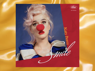 Katy Perry - Smile - Album Art Concept 1 blue red vintage retro circus clown concept lockup lettering typography