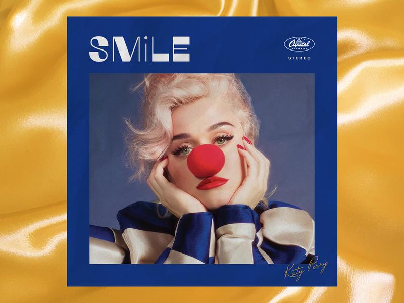 Katy Perry - Smile - Album Art Concept 3 classic blue vintage retro circus clown concept lockup lettering typography type music photography album album art cover cover design