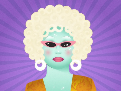 Juno Birch trans queer lgbt gay green purple blonde character 70s 60s alien queen drag drag queen juno birch portrait clean vector design illustration