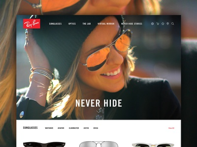 Ray-Ban Website Concept identity branding ray-ban sunglasses ui interface design web website clean new update