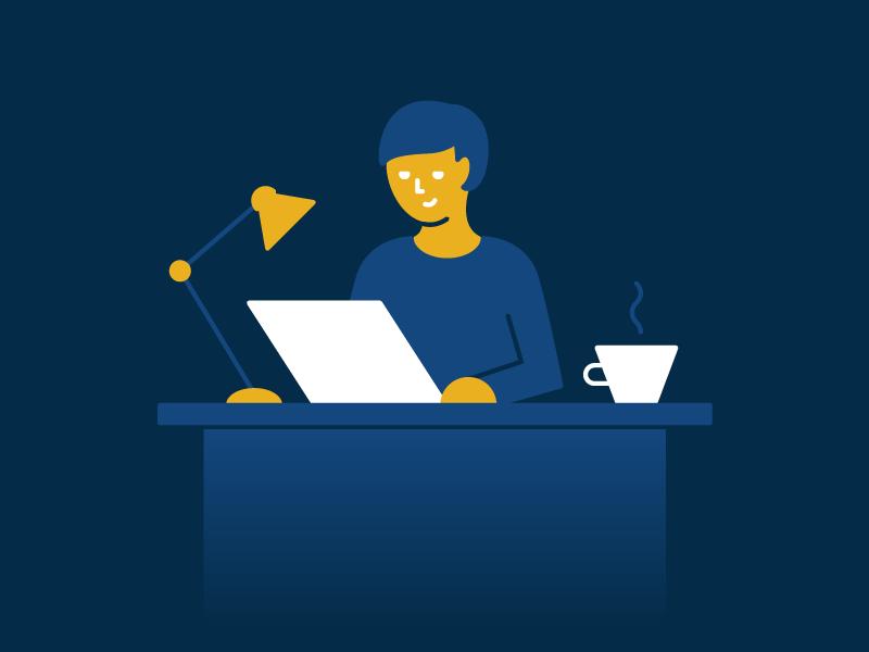 Desk Dude office blue spot character line stroke flat vector illustrator illustration dude desk