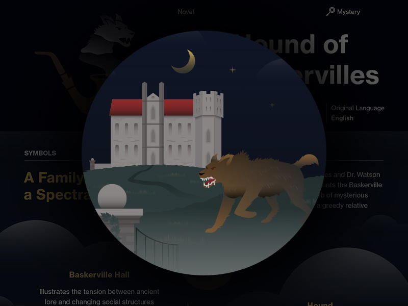 The Hound of the Baskervilles - Course Hero Series course hero series education study guide book design flat vector illustrator illustration infographic