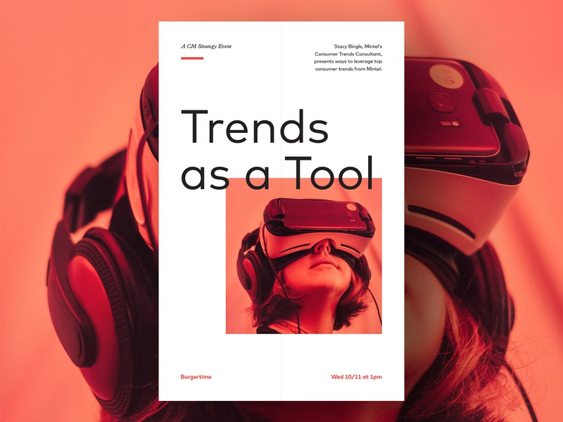 Trends as a Tool Poster minimal clean layout grid typography type red photo print poster signage event
