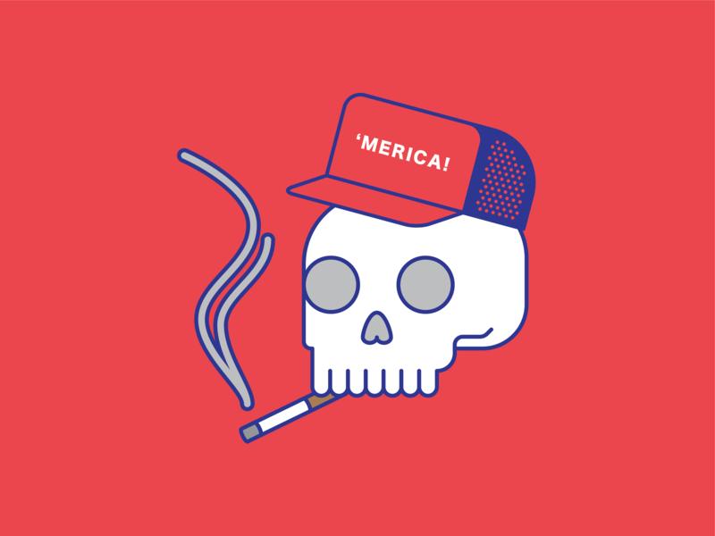 Merica smoking skull vector illustration usa america