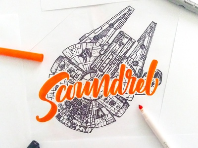 Scoundrel film star wars calligraphy art movie graphic design illustration type lettering handlettering typography