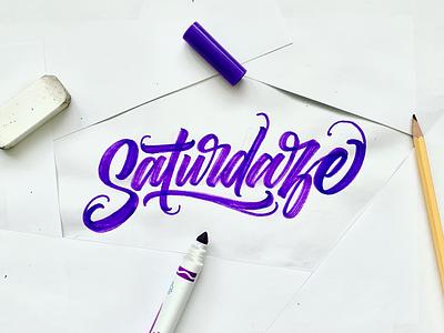 Saturdaze calligraphy type illustration typography lettering handlettering