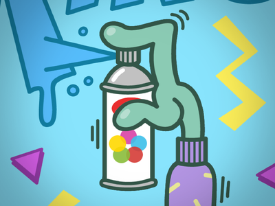 Painter Close-Up vector color spray can pattern